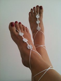 Wedding White  Barefoot Sandals with silvery  by ArtofAccessory
