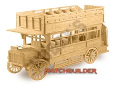 This Matchbuilder Bus from Hobby's includes everything needed to make this matchstick model kit.    Included are all the pre-cut card formers along with the glue, matchticks and full instructions. These instructions will guide you through each stage of the construction until you finally achieve the finished product.    We would highly recommend this Matchbuilder Bus.