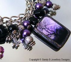 DARKNESS FALLS~ Altered Art, Unique Gothic Charm Bracelet/Necklace