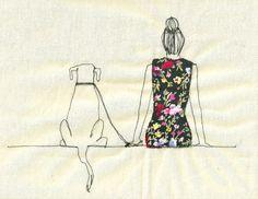 Embroidered illustration by Sarah Walton (Animal kingdom treasury list on Etsy)