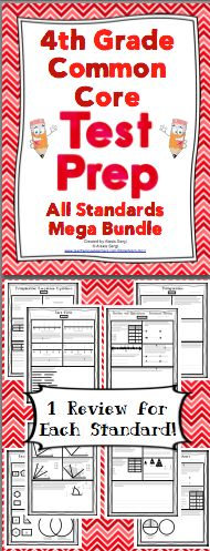 4th Grade Common Core Math Test Prep - Help your students get ready for testing! This resource has a practice page for each of the 4th grade Common Core Standards and a comprehensive review of each domain. Wow! $