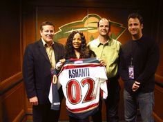 Ashanti with her Minnesota Wild jersey at Xcel Energy Center in Saint Paul, Minn. December 5, 2002