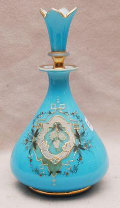 "Blue opaline Victorian perfume  bottle, 6""h"