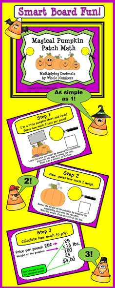 Magical Pumpkin Patch Math for Smart Board:  Multiplying Decimals by Whole Numbers