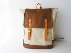 Natural Waxed Canvas and Leather Backpack