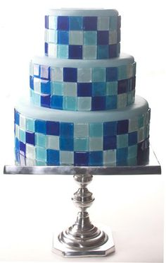 """Ingredients and Supplies  6"""", 9"""" and 12"""" cake  light blue fondant  3 pounds isomalt  blue food coloring  piping gel  square chablon"""