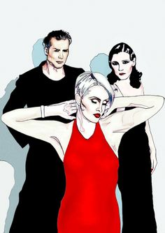 ARTFINDER: Human League by Sam Parr - Limited edition print of illustration of The Human League - mixed media - hand drawn and digital art - fine art print on matte archival paper A3 size