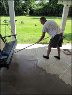 How to Stain Concrete. Neat idea with the tape to make tiles!