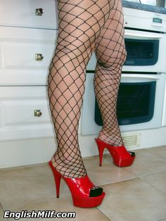 In my fishnets and sexy platform high heels