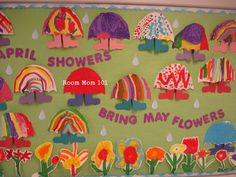"""April Showers…Bring May Flowers"".    •Using a card stock template, invite your students to trace and cut an umbrella shape from craft paper.   students use a card stock template to trace and cut rain boots from colored construction paper.  do the same with flowers."