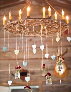 """Chandelier of hearts and candles   pretty..""""chandelier"""" made from a vintage metal iron garden gate type accessory- with all kinds of things dangling- hang flower vases and trinkets....weddings, outdoor parties (inside, too)"""