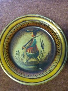 Peter Ompir hand painted tray: Gent with pheasant