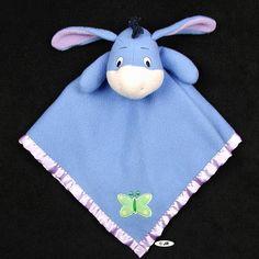 Winnie The Pooh Eeyore Blue Security Blanket Lovey Disney Butterfly Donkey   #ebay #sell #eeyore #baby