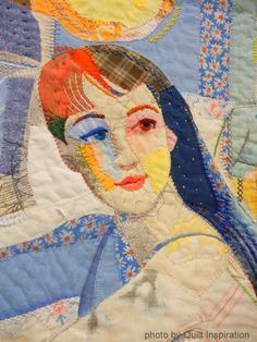close up, Woman with Two Gents by Leslie Gabriëlse (Rotterdam, Netherlands).  Photo by Quilt Inspiration.