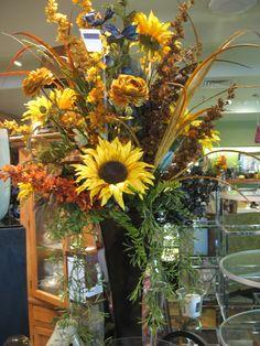 dried floral arrangements ideas | Beautiful Silk Sunflower Arrangement.