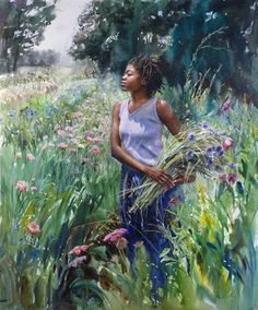 "Mary Whyte-""Cool Breeze""-Watercolor"