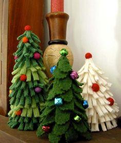 Felty Fir Trees xmas trees, christmas crafts, felt christmas, felt tree, christma tree, fir tree, holiday crafts, christmas trees, wool christmas ornaments