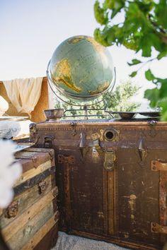 travel trunk, idea, globes, vintage shipwreck wedding, beach weddings, vintage nautical wedding, vintage homes, vintage travel, vintage inspired