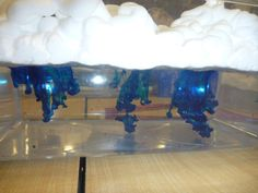 """Materials: 2 clear containers, water, shaving cream, food coloring, and droppers.  Slowly pour the food coloring on top of the shaving cream clouds and watch the """"rain"""" come down when the clouds get saturated."""