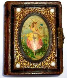 ~ 1870 Antique Leather Photo Album w/ Celuloid Oval Victorian Girls 25 Tintypes ~