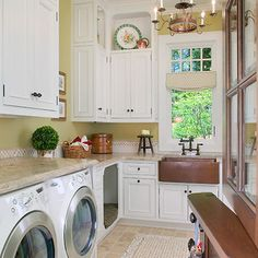 Laundry room with cubby for dog bed and dutch door - great alternative to a dog gate!