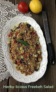 Herby-licious Freekeh Salad via MealMakeoverMoms.com/kitchen #Freekeh #WholeGrains #Salad #vegetarian