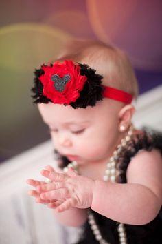 Baby Headband Minnie Mickey Mouse inspired Headband Shabby Headband Baby Bows girl Headband Red Black Headband Newborn Headband. $8.95, via Etsy.