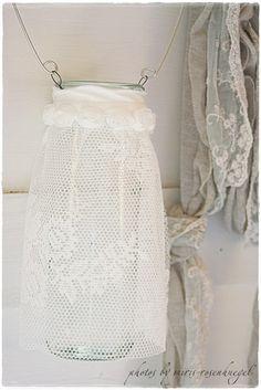 lace, lantern, shabby chic, diy tutorial, balconies, candle holders, mason jar crafts, blog, mason jars