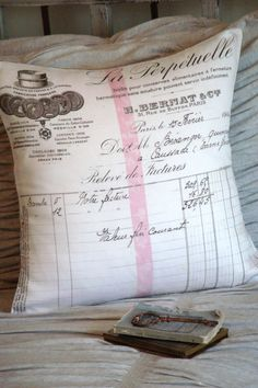 Cotton and Burlap Pillow Grain Sack French Script by JolieMarche
