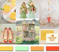 2014 trending yellow mint and orange summer wedding color ideas #elegantweddinginvites