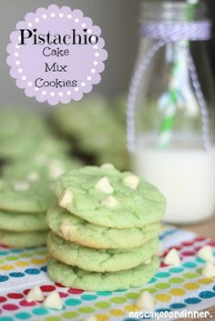 Pistachio Cake Mix Cookies for St. Patrick's Day - Soft and chewy with creamy white chocolate chips on eatcakefordinner.blogspot.com #recipe #stpatricks #cookie #greendessert