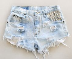"""The """"Faded Fridays"""" High Waisted Shorts Studed Light Wash Denim Vintage American Apparel Indie Fashion Hipster Shorts Hippie Grunge on Etsy, $35.00"""