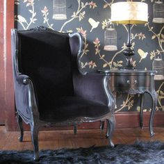 Sassy Boo Black Wing Armchair - French Bedroom Company