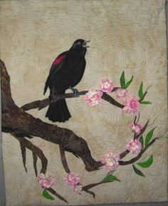 Spring Song by Linda Morand.  Inspired By Nature-A Pointless Sisters' Quilted Fiber Art Exhibit