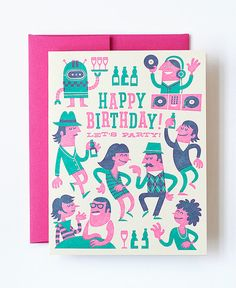 Hipster Party Letterpress Greeting Card designed by Esther Aarts for Hello!Lucky
