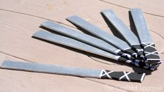 """Ninja swords"" from paint stirrers--The Crafted Sparrow: Ninja Birthday Party"