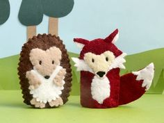 craft, fingers, hedgehogs, woodland creatures, anim pair, woodland animals, foxes, felt animals, finger puppets
