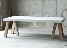 Concrete top + oak legs