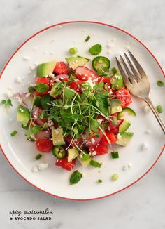 spicy watermelon & avocado salad / loveandlemons.com cook, watermelon avocado salad, lemons, food, watermelon salad recipes, salads, spici watermelon, watermelons, fresh fruit