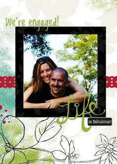 We're Engaged 5x7 Folded Enchanted #Digital #Scrapbooking Card from Creative Memories    http://www.creativememories.com