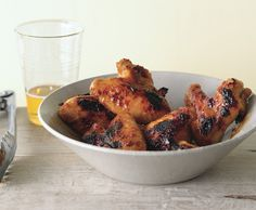 Peach-Lacquered Chicken Wings Recipe | Epicurious.com