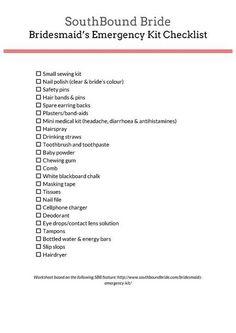 Downloadable Worksheet: Bridesmaid's Emergency Kit