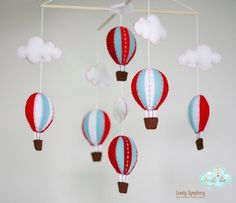 Red and blue hot air balloons baby mobile  #SocialCircus