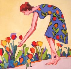 Daily Painting, Morning Greeting, woman with flowers, painting by artist Carolee Clark
