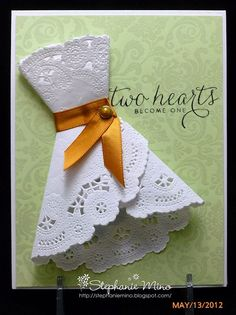 Bridal shower card made with a doily