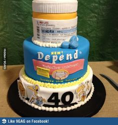 Funny cake for 40th/50th birthday (if they have a sense of humor). Ok...I want this to say 60 instead of 40 for my dad's birthday next year. It'll be great. :P