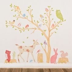 Wall Decals Woodland (Reusable and removable fabric stickers, not vinyl) - Discount set - Girly Woodland Scene