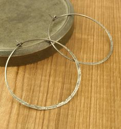 Sterling Silver Earring Hoops - 45mm - Distressed and Antiqued. $30.00, via Etsy.