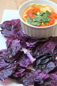 Red Cabbage Chips with Tomato Yogurt Dipping Sauce - What Jew Wanna Eat