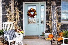 Front Door (from House of Turquoise) the doors, blue doors, barn door, door decor, front doors, hous, front door colors, front porches, happy halloween